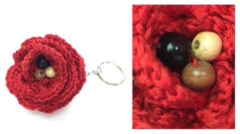 crochet rose keyring
